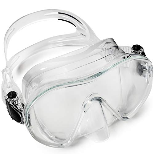 Adventure At Nature Kai Scuba Diving Clear Mask (Adults) Frameless, Form-Fitting Leakproof Seal, Clear HD Lens | Dive Goggles for Snorkeling, Spearfishing, Freediving | Underwater Pool, Ocean