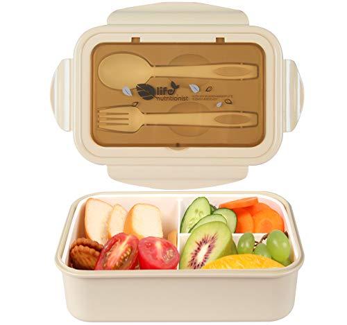 MEIXI Fiambrera Infantil Caja de Bento con 3 Compartimentos y Cubiertos Fiambreras Caja de Alimentos Ideal para Almuerzo y Bocadillos para Niños y Adultos (Caqui)