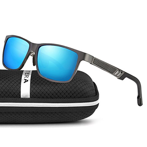 ELITERA de magnesio y aluminio polarizadas de los hombres gafas de sol para la conducción deportiva viaje E6560 (Gris&Azul)