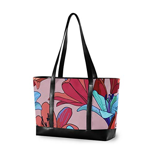 Watercolor Blue Red Flower 14 15 15.4 15.6 inch Laptop Tote Bag for Women Large Lightweight and waterproof Computer Handbags Laptop Shoulder Messenger Bag