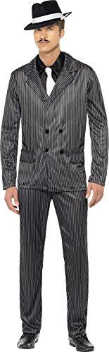 Smiffys-23687M Disfraz de gánster, Chaqueta de Raya diplomática y Pantalones, Pechera de Camisa y Corbata, Color Negro, M-Tamaño 38