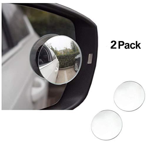 E-db Espejos de punto ciego, redondos, sin marco, ancho, 360°, giratorio, ajustable, HD cristal convexo, duradero, espejo lateral, punto ciego, para todos los coches, SUV, camiones, motocicleta