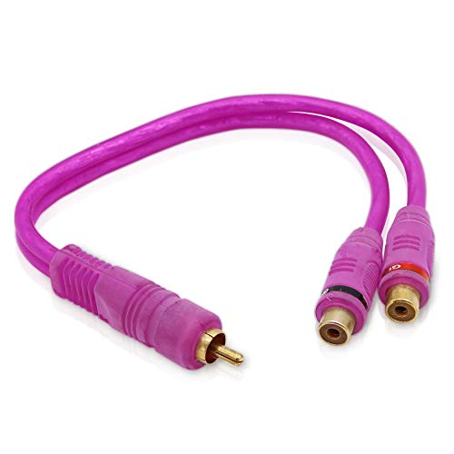 2-Female RCA Jack Stereo Cable - 3.5mm Stereo Mini Plug with Y Adapter Gold Plated RCA Cable, High Purity Oxygen Free Copper - GSI GXS2F