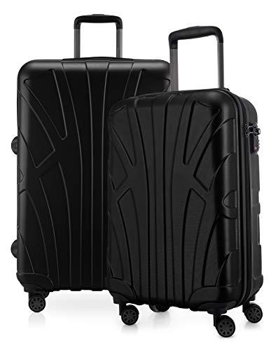 Suitline - 2-teiliges Koffer Set - Leichtes Handgepäck 55cm für alle Airlines + Check-In Koffer 65cm, 4 Rollen, TSA Schloss, Schwarz