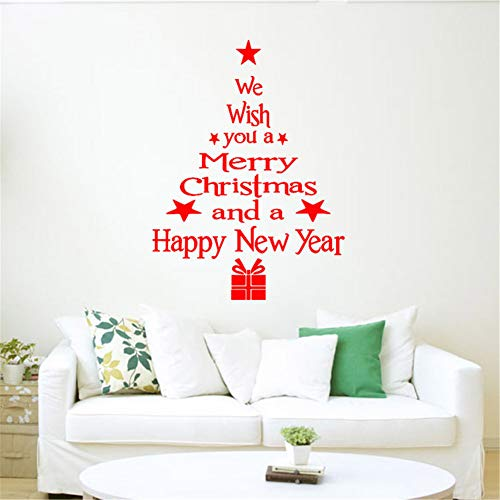 QISHENG Christmas Tree Stickers Letters Decals Removable Wall Stickers PVC Mural Window Decoration for Christmas Home Decoration Supplies (Red)