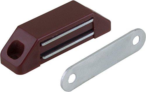 1 Magnetschnäpper Möbelschnäpper Schrankschnäpper, Haltekraft 5-6 kg, Kunststoff braun mit Metallgegenplatte 58 x 16mm