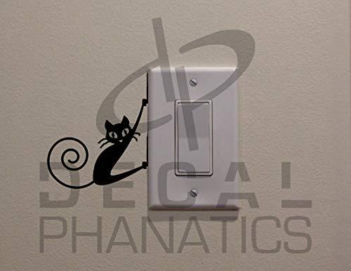 Gato negro colgando en el lado del interruptor de luz (9,5 x 8,4 cm) – Dormitorio/decoración del hogar/coche/camión/computadora o teléfono calcomanía