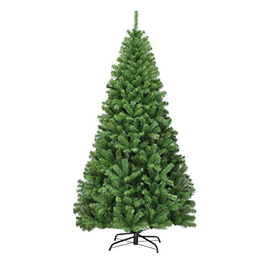 COSTWAY Árbol de Navidad Artificial de 180 cm Árbol de Navidad con Agujas de PVC Soporte de Metal Decoración para Navidad Hogar Oficina Fiesta Verde