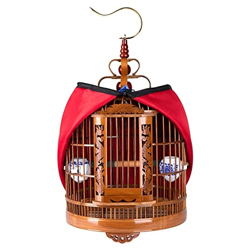 PHSP Jaulas y Accesorios Jaula de pájaros de Viaje Jaula para pájaros de bambú Antiguo Jaula para pájaros estorninos Jaula de pájaros Hueca Hecha a Mano Grande de bambú con Gancho