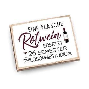 Handmade Magnet aus Buchenholz mit Spruch | Eine Flasche Rotwein ersetzt 26 Semester Philosophiestudium