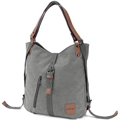 JOSEKO Canvas Tasche, Damen Rucksack Handtasche Vintage Umhängentasche Anti Diebstahl Hobotasche für Alltag Büro Schule Ausflug Einkauf grau