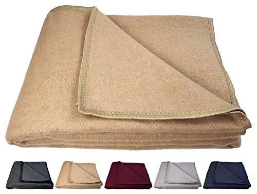 STTS International Sale! Sale! Dikke warme woondeken 100% wol wollen deken versch. maten/kleuren beddensprei Andorra 150 x 205 cm beige