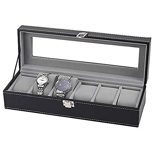 T.T-Q Caja de presentación de Almacenamiento de Caja de Reloj de 6 dígitos Cajas para Relojes Caja de Regalo de Ventana de Madera Regalo de cumpleaños 32.5 * 11 * 8cm