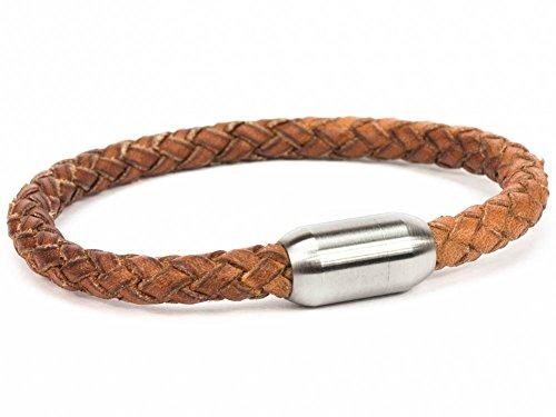 SIMARU Lederarmband für Herren & Damen – geflochtenes 6mm Armband aus pflanzlich gegerbtem Leder mit Edelstahl Magnet Verschluss – Allergiefreundlich & Chromfrei (hellbraun (Größe XL))