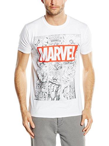 Marvel Mono Comic T-Shirt Camiseta, Blanco (White), X-Large para Hombre