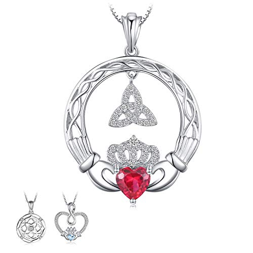 JewelryPalace Dangle Trinity Knot Celtic Claddagh 1ct Created Ruby Pendant Necklace 925 Sterling Silver 18 Inches Chain