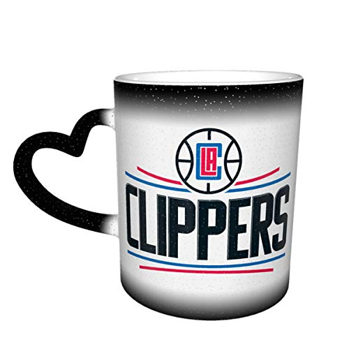 Nba Los Angeles Clippers Customized Glossy Ceramic Coffee Mug, Tea Cup For Office And Home, Heart-Shaped Handle