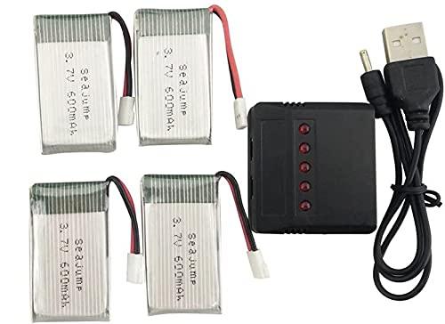 YUNIQUE ITALIA 4 Pezzi Batteria Lipo 3.7v, 600 mAh per Rc Droni Quadricotteri Syma X5 X5C X5SC X5SW, Cheerson CX-30W, Skytech M68, Wltoys F949 con Caricatore