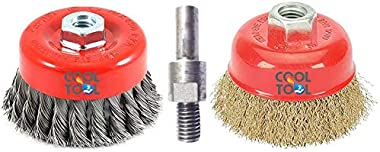 CoolTool 3-Inch Steel Twisted Cup Brush and Brass Circle Wire Brush with Drill Attachment (M10) Combo for Removing Rust, Pain