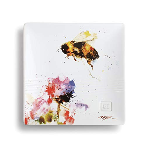 Dean Crouser Bumblebee Watercolor Yellow 7 x 7 Ceramic Stoneware Decorative Snack Plate