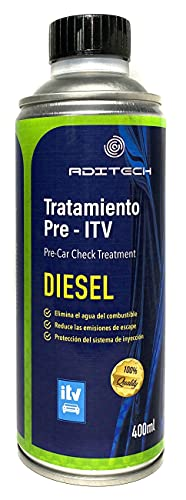 ADITECH Tratamiento Pre-ITV para Motores Diesel. Mejora la combustión, reduciendo considerablemente Las emisiones de Escape y Haciendo más eficiente el Consumo.