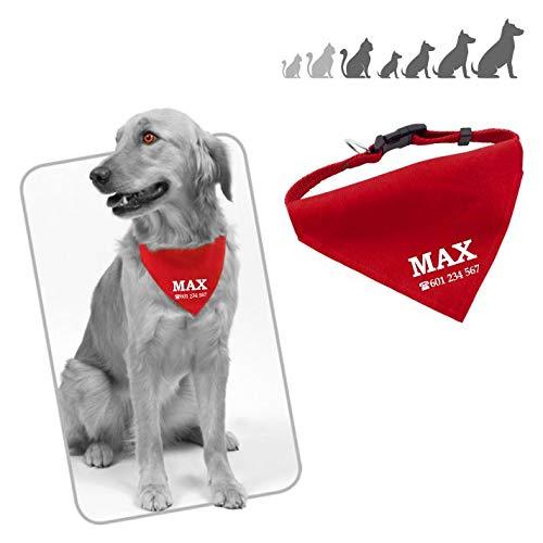 Iberiagifts - Collar con Bandana Personalizada para Mascotas (Rojo)