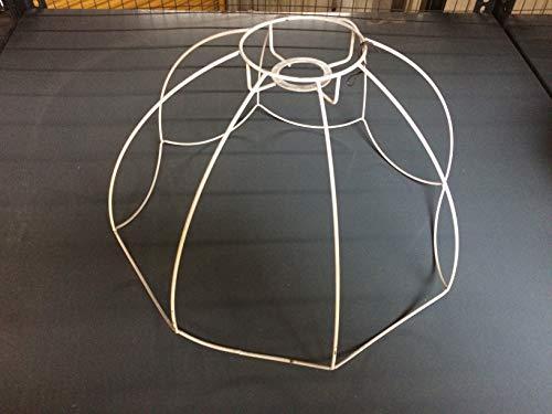 Schirmgestell Lampe Leuchten Retro Vintage weiß Leuchtenschirm Lampenschirm Drahtgestell (42cm (2))