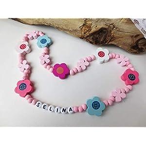Bunte Kette für Kinder, Kinderkette, Namenskette, aus Holzperlen, rosa, Blüten, Blumen, Name, Wunschname, elastisch oder…
