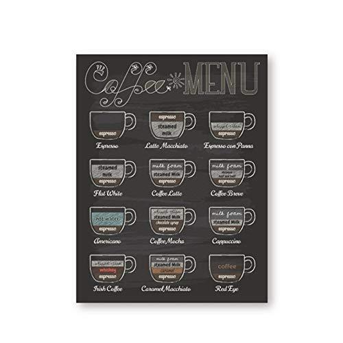 """YangMENGDAN druk op canvas koffie menu bedrukt vintage tafel poster muurkunst decoratie canvas schilderij afbeelding koffie winkel decoratie 23.6""""x 35.4""""(60x90cm) Geen lijst2"""