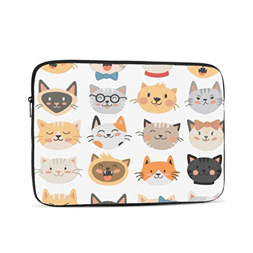 Macbook Pro 2016 Case Cats Heads Emoticons Macbook 2018 Case Multi-Color & Size Choices10/12/13/15/17 Inch Computer Tablet Briefcase Carrying Bag