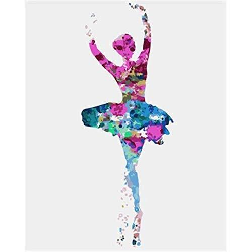 DSHF Pintura al óleo Digital DIY x Figura de Bailarina de Ballet de Colores, Pintura DIY por números, Arte de Pared Moderno, Pintura acrílica al óleo para decoración del hogar, Chica Musical