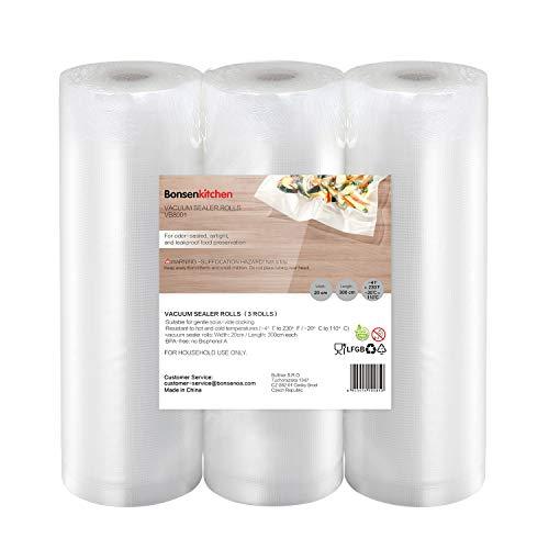 Bonsenkitchen Rollos al Vacio para Envasadora al Vacío, 3 Rollos 20 x 300cm Bolsas de Vacio Gofradas para Conservación de Alimentos y Sous Vide Cocina & Boilable,BPA Free - VB8001