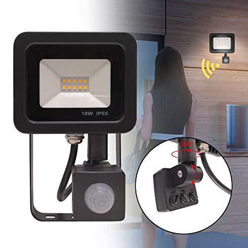 10W LED Fluter mit Bewegungsmelder 3 modi - LED Strahler IP65 wasserdicht Aluminium Scheinwerfer Licht - für Garten, Garage, Hof oder Hote, Kaltweiß