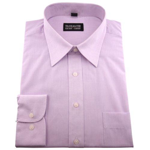 Travelmaster Herren Business & Freizeit Langarm Hemd mit Brusttasche - Farbe Flieder - Hemd Gr.41/42 L
