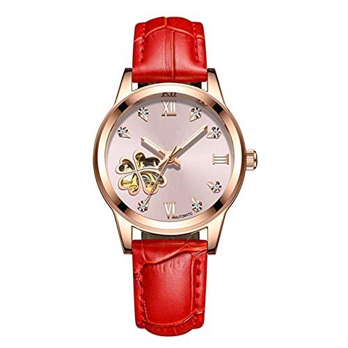 TREWQ Relojes Mujer Mecánico Automático de Estilo Clásico Impermeable Números Esfera con Correa de Piel Luminoso Relojes de Pulsera,Red Pink