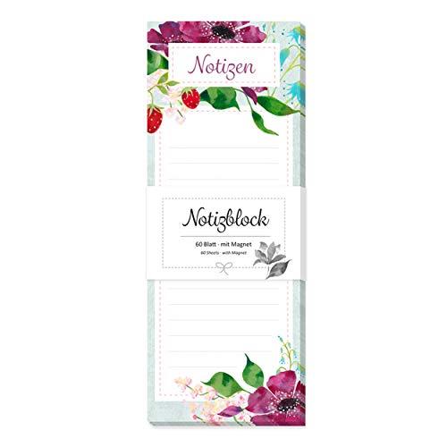Notizblock, Notizzettel gebunden, 60 Blatt, liniert, magnetisch für Kühlschrank mit Motiv, Blume, Blumen, bunt, rot, grün, Einkaufsliste, To-Do-Liste