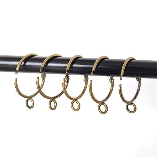 Coideal 20 anillos de cortina abiertos de bronce con ojal de 1,5 pulgadas, de latón abierto, de metal, para barra fija, a prueba de óxido, fácil de abrir y cerrar (38 mm)