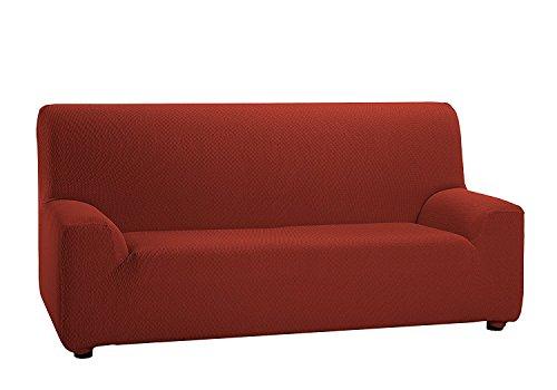Texturas VIP- Funda de sofá Elástica Low Cost (Varios tamaños Disponibles) (2_Plazas_140_170_cms, Teja)