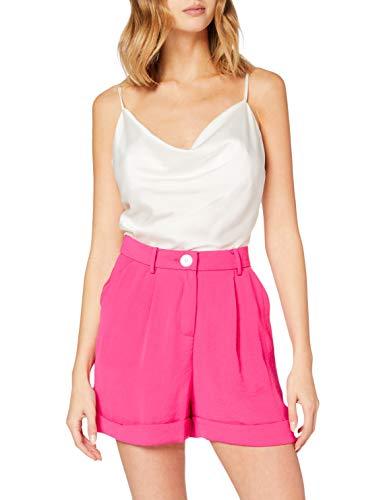 Miss Selfridge Hot Pink Button Shorts Pantaloncini, Rosa Caldo, 10 Donna