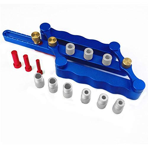 Zelfcentrerende pluggen, 6/8/10 mm hout pluggat boorgeleider houtbewerkingspositionier Locator gereedschapboorapparaat aluminiumlegering blauw
