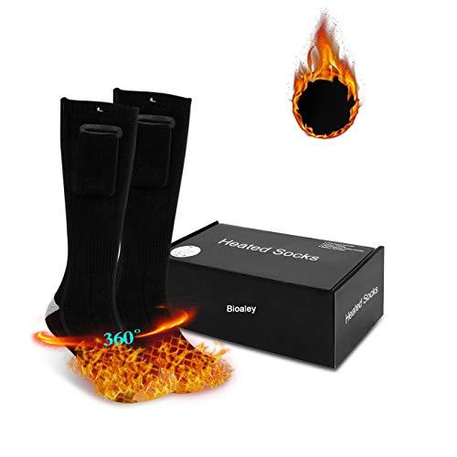 Bioaley Calcetines térmicos para hombre/mujer, calcetines de calefacción eléctrica con 2 baterías de energía,Negro
