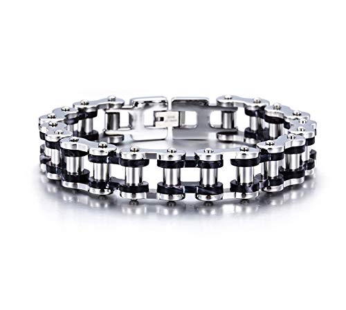 KnBoB Titanstahl Herren Herren Silber Schwarz Bikerkette Armband