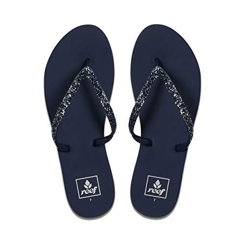 Reef Women's Sandals Stargazer | Glitter Flip Flops for Women with Soft Cushion Footbed | Waterproof | Mermaid | Size 10