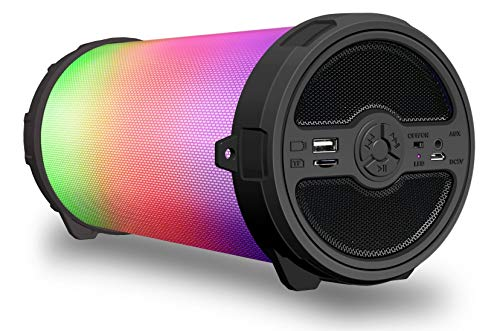 Sykik SP2021BT Bluetooth Boom Box with SD/MMC/USB, FM Radio, Disco Light, Built-in Rechargeable Battery & Remote Control