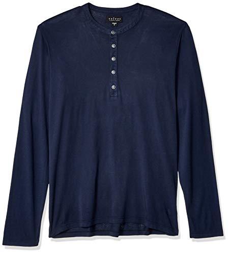 Velvet by Graham & Spencer Herren Velvet's Andros Men's Two Color Jersey Shirt Hemd, Midnight, Mittel