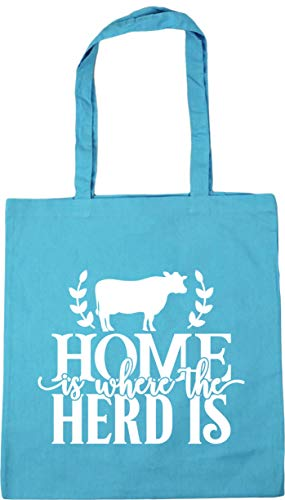 Hippowarehouse Home is Where the Herd is Tote Shopping Gym Beach Bag 42cm x38cm, 10 litres