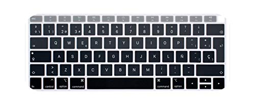 Spanish Keyboard Protector for 2018 New for MacBook Air 13 A1932 EU Layout Keyboard Cover MabookAir 13.3 Silicone Skin Spain Guard-Gradient Gray-