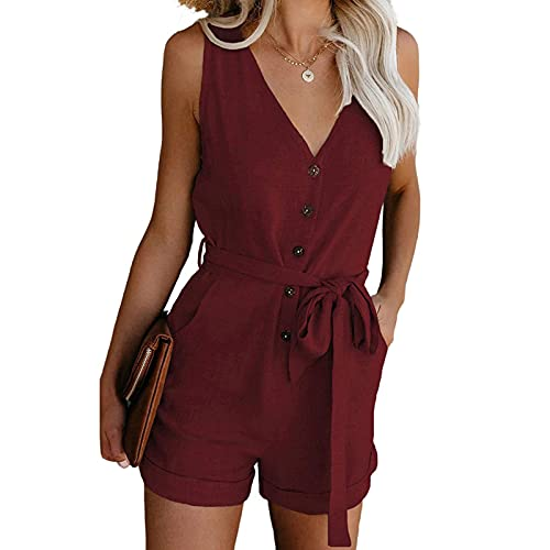 Geagodelia Chándal para mujer de verano, elegante, de color liso, cuello en V, sin mangas, con bolsillos, tallas S-XL, traje de verano para niña, regalo multicolor rojo S