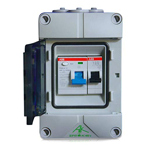 Anschlussfertiger Verteiler Stromanschluss für Camping, Garten und Garage mit FI Schalter 40A | 30mA sowie Leitungsschutzschalter B16A (Einbaugeräte ABB)