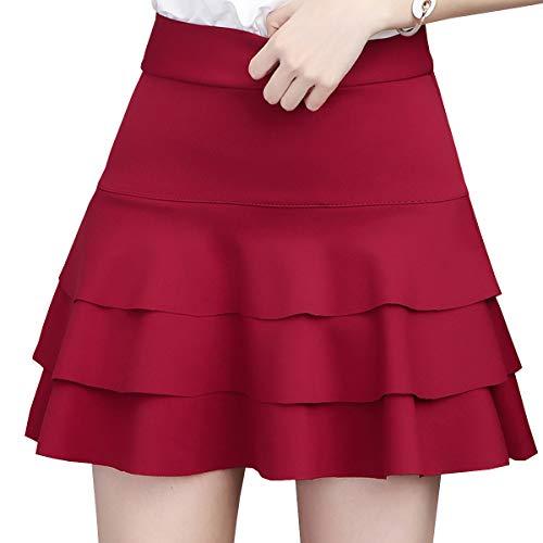 DISSA Falda plisada mini para mujer CA1217 rojo 38